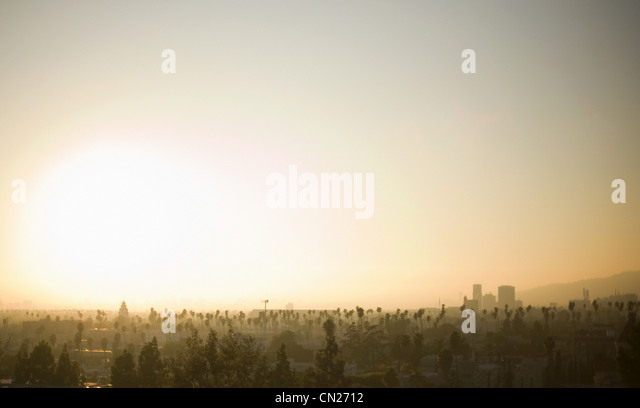 Sunset over Los Angeles, California, USA - Stock-Bilder