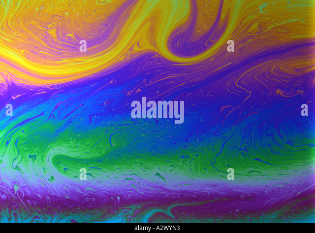 Psychedelic pattern (Medium Format) made from shooting fairy liquid patterns - Stock Image