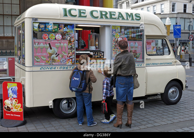Tasttee Maid Classic creme coloured ice cream van from the 1960s in Edinburgh city centre Scotland UK 2013 - Stock Image