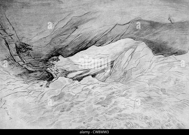 Rocky gorges, illustration by Gustave Doré - Stock Image