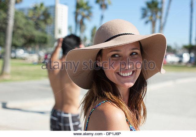 Woman wearing hat - Stock Image