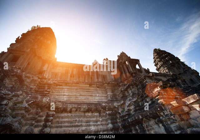 Angkor Wat is the largest Hindu temple complex It has become a symbol of Cambodia. - Stock Image