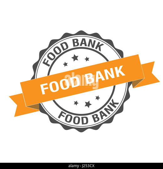 Food bank stamp illustration - Stock Image