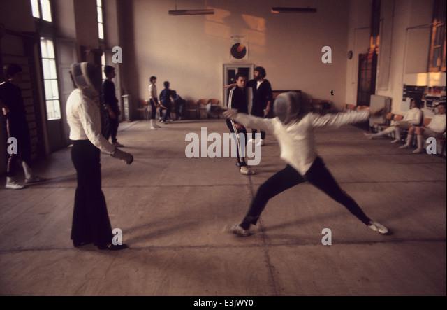 piccolo teatro in milan,fencing lesson - Stock Image