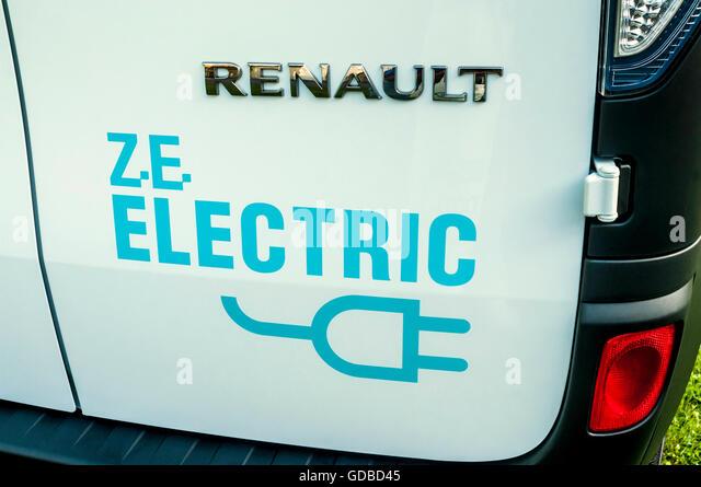 Logo of Renault ZE Electric van - France. - Stock Image