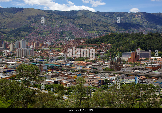 View over the city of Medellin, Colombia, South America - Stock Image