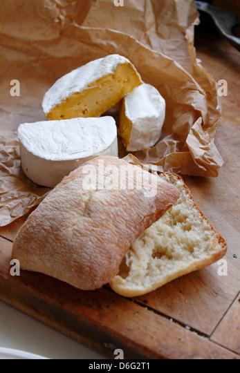 Cows milk soft cheese with Ciabatta bread - Stock Image