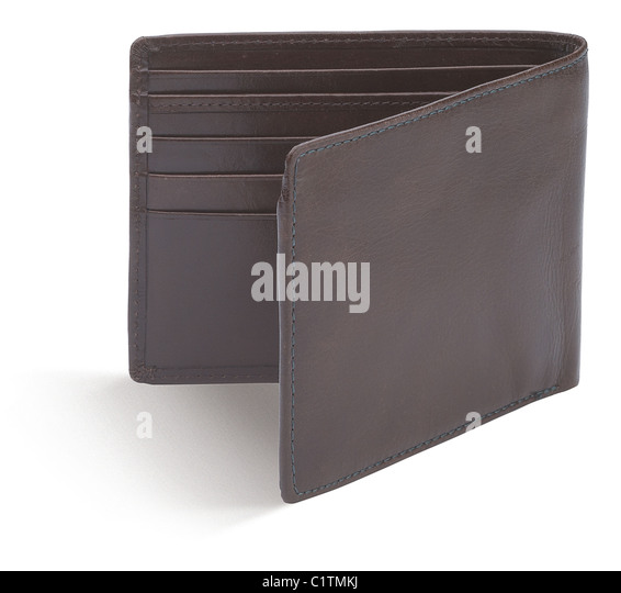 an empty brown gents wallet isolated on a white background - Stock Image