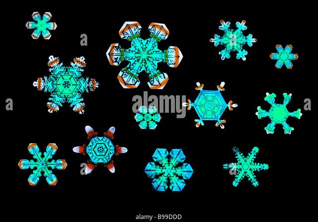 colour enhanced photograph of snowflakes - Stock-Bilder