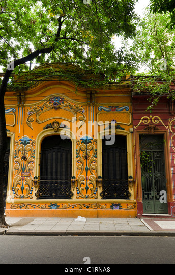 Street in the Carlos Gardel neighborhood, Buenos Aires, ARGENTINA - Stock Image