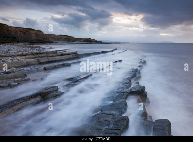 Rocky ledges at Kilve Beach, Somerset, England. Summer (June) 2011. - Stock Image