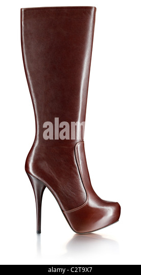 ladies brown leather knee boot - Stock Image