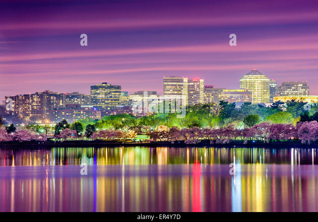 Washington, DC at the Tidal Basin with the Arlington skyline. - Stock Image