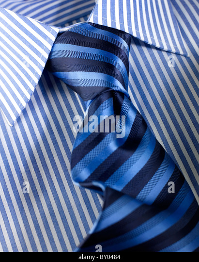 close up of mens shirt and tie - Stock Image
