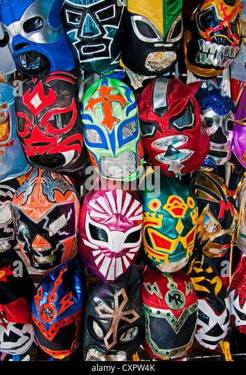 Lucha Libre masks for Mexican professional wrestling at Mercado San Juan de Dios in downtown Guadalajara - Stock Image