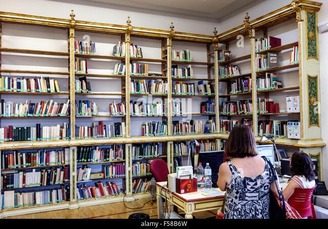 Spain Europe Spanish Hispanic Toledo Biblioteca de Castilla-La Mancha library inside interior books - Stock Image