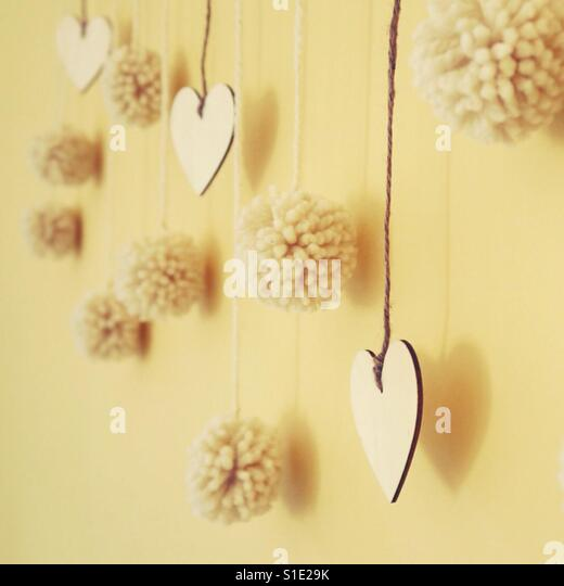Winter decor: Balls and Hearts, Wool and Wood - Stock-Bilder