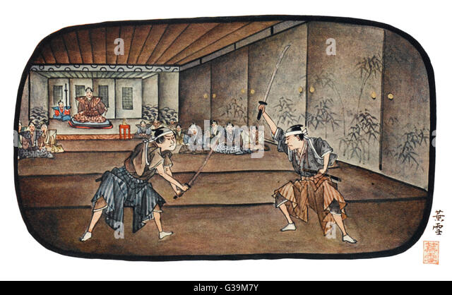 Japanese warriors fencing - Stock Image