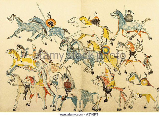 'geography / travel, USA, Indian Wars, battle of the Little Bighorn 25.6.1876, American Indians leaving battleground, - Stock Image