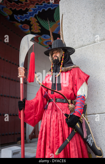 World Heritage Gwangwha-mun Korea Asia Seoul arms city colourful gate guard Gyeongbog-Gung guardsmen history palace - Stock Image