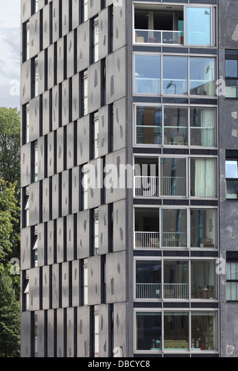 Chasse Park Housing, Breda, Netherlands. Architect: OMA, 2001. Detail of apartment block facade, designed by Xaveer - Stock Image