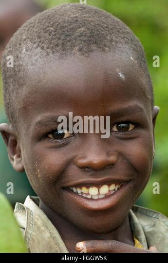 Happy looking boy, Uganda. - Stock Image