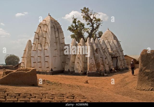 Back View Larabanga Mosque Larabanga Village Ghana West Africa - Stock Image