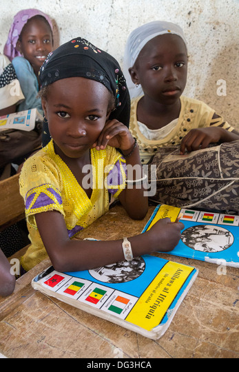 Senegal, Touba. Young Girls at Al-Azhar Madrasa, a School for Islamic Studies. - Stock Image