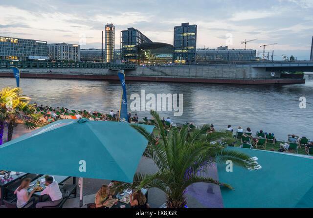 Berlin, Germany, river, Spree, capital  beach cafe, Lehrter Bahnhof, Main Station - Stock Image