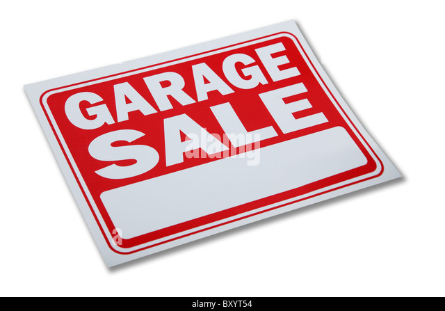 Garage sale sign on white background - Stock Image