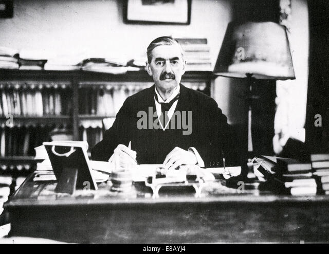 NEVILLE CHAMBERLAIN (1869-1940) British Conservative politician as Prime Minister about 1938 - Stock Image