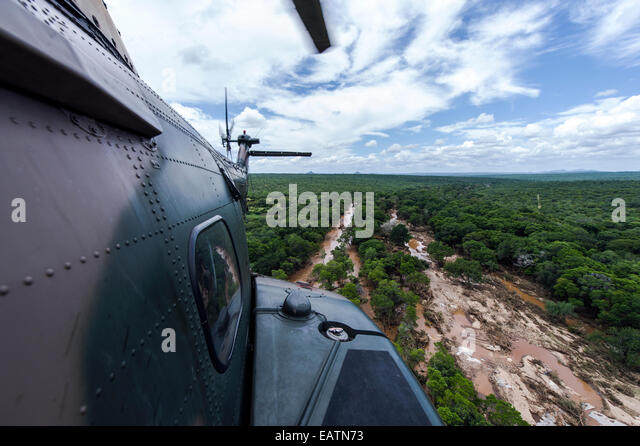 The fuselage of an airforce Atlas Oryx helicopter on flood patrol. - Stock Image