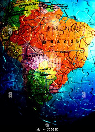 Map of Brazil in jigsaw pieces - Stock Image