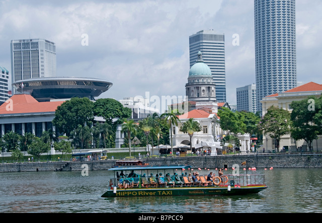 Singapore river Colonial District Raffles Landing site north boat quay - Stock Image