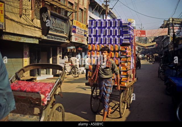 Cart puller at Agra in Uttar Pradesh India - Stock Image