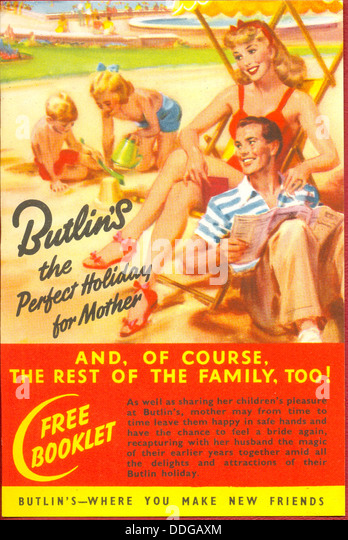 Advertising leaflet for Butlin's Holiday Camps - Stock Image