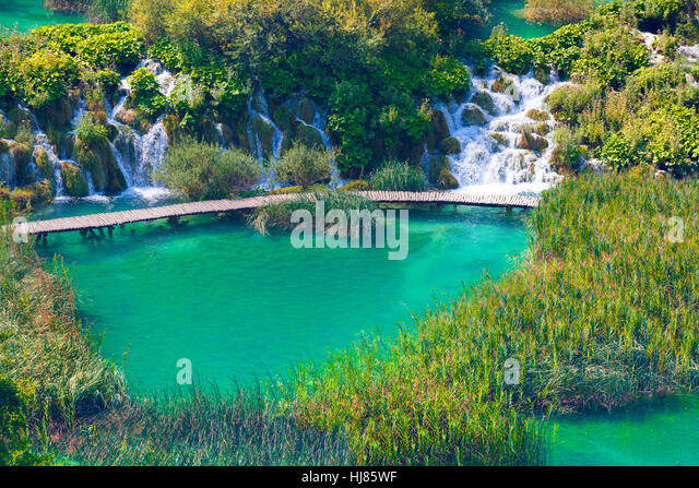 Wooden tourist path in Plitvice lakes national park, Croatia, Europe. - Stock Image