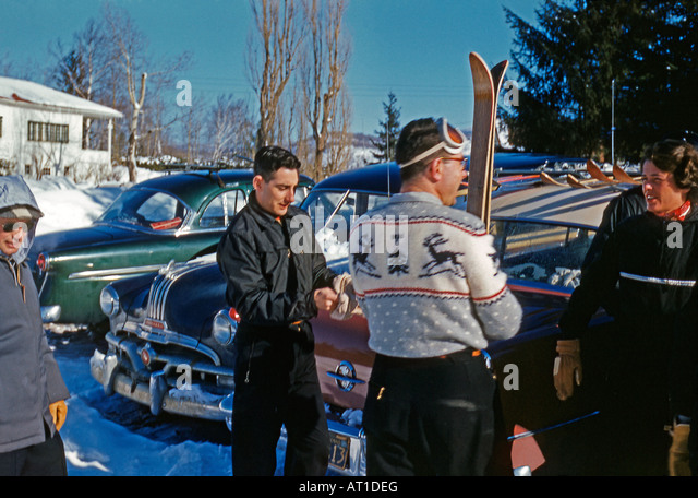 Skiing 1950s style, Gray Rocks, Mount Tremblant, Quebec, Canada, 1955 - Stock Image