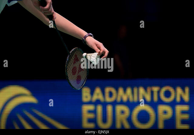 Lubin, Poland. 29th Mar, 2015. Semifinal of team tournament in  badminton during European Junior Championships 2015. - Stock Image