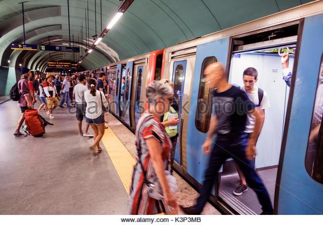 Lisbon Portugal Marquis of Pombal Square Lisbon Metro subway public transportation mass transit station platform - Stock Image