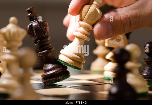 wooden chess pieces - Stock Image