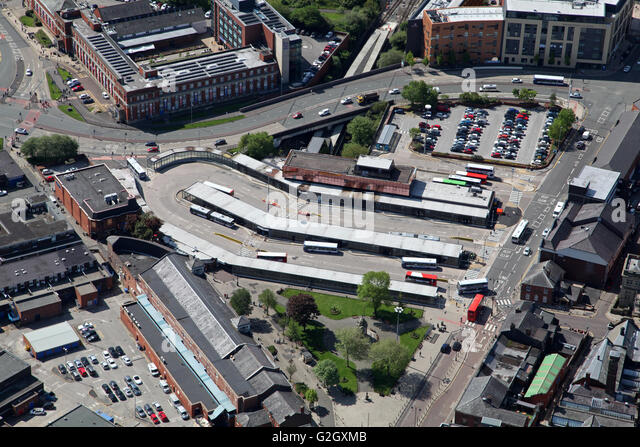 aerial view of Bury town centre bus station terminal, Lancashire, UK - Stock Image