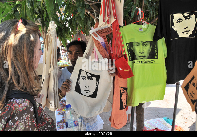 Tshirts with Aung San Suu Kyi at Bagyoke Aun San Market, Yangon, Myanmar, Burma, Asia - Stock-Bilder