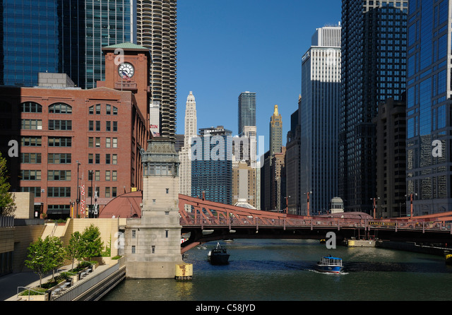 Bridge, Chicago River, Downtown, Chicago, Illinois, USA, United States, America, city, skyline, buildings, river - Stock Image