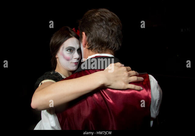 Actors in very artificial makeup at a dress rehearsal - Stock Image