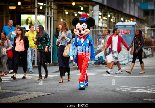 New York city NYC Times Square caricatures busk for tips - Stock Image