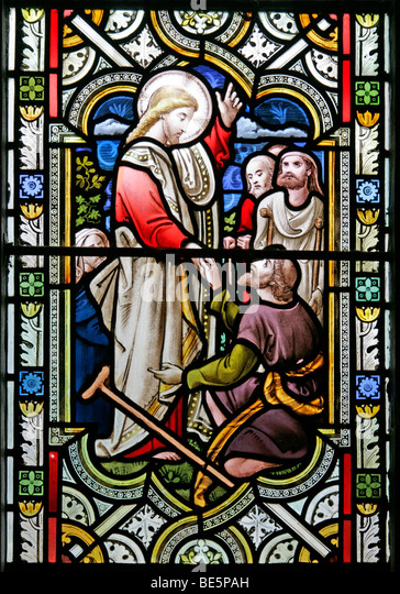 Stained Glass Window Depicting Jesus Performing Miracles, St John the Baptist Church, South Carlton, Lincolnshire - Stock Image