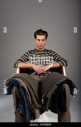 Young man with pants - Stock Image
