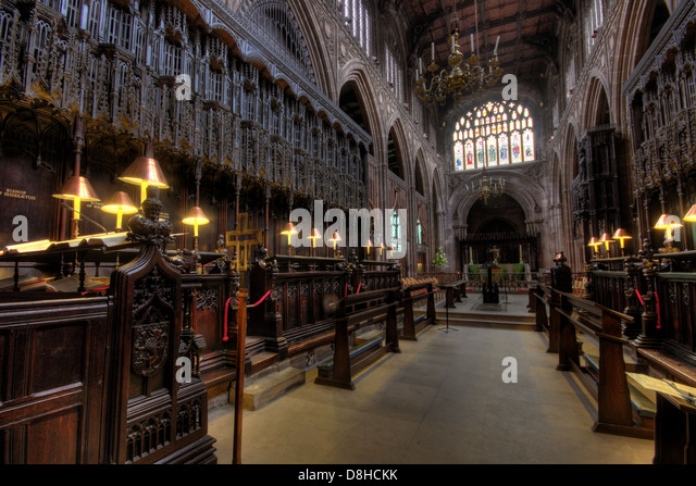 Manchester cathedral interior NW England UK - Stock Image