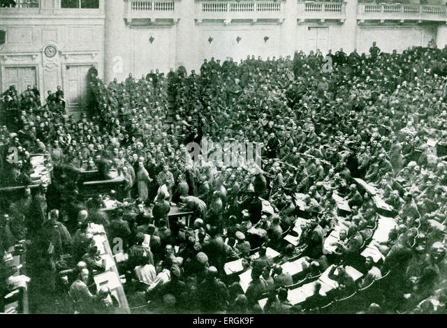 The Committee of Workers' and Soldiers' Deputies meeting in the new soviet in St. Petersburg, immediately - Stock Image